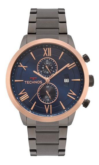 Relogio Technos Masculino Cronografo Cinza Grande Jp11ac/4a