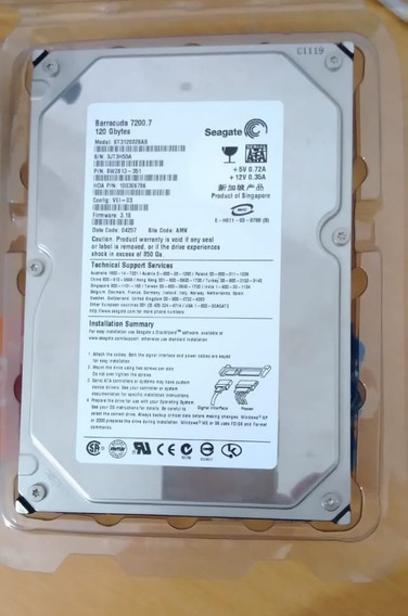 Hd Computador Seagate Sata 120gb St3120026as Seminovo
