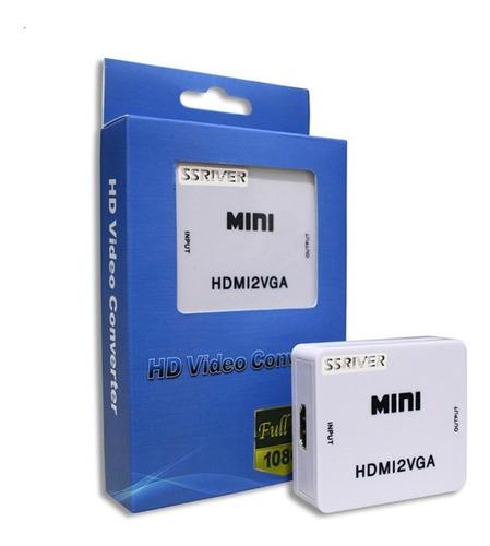 Mini Conversor Hdmi A Vga Con Audio, Adaptador De 1080p
