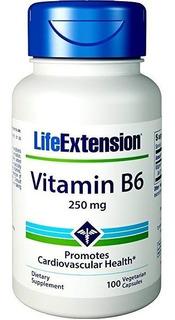 Vitamina B6 Piridoxina 250mg 100 Cápsulas Life Extension