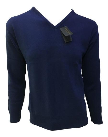 Suéter Azul Marino Cuello V Hombre