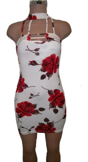 Sexy Vestido Color Beige Con Estampado De Rosas Escote Gl