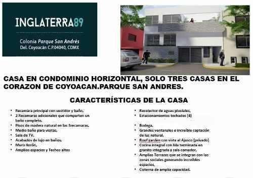 Coyoacan, Parque San Andres, Tres Casas En Condominio