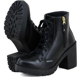 Bota Cano Curto Feminina Ankle Boot Salto Tratorada Fosca