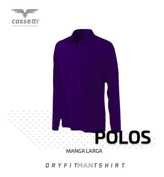 Playera Tipo Polo Cossetti Manga Larga Dry Fit Mujer Xl, 2xl