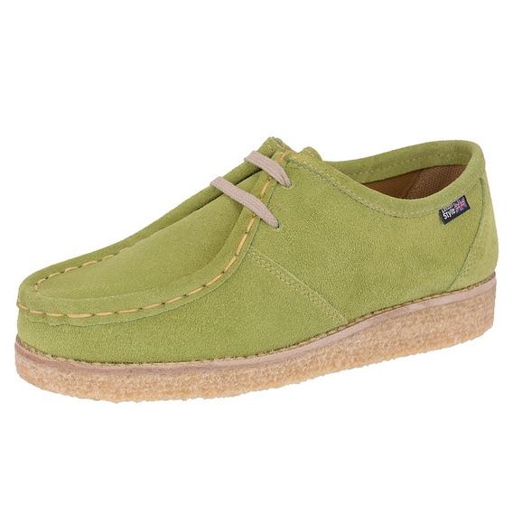 Sapato Solado Goma(crepe) Estilo London Couro Camurça Verde