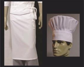 6 Kits Avental + Chapéu Toque Gastronomia,cozinheiro Chef