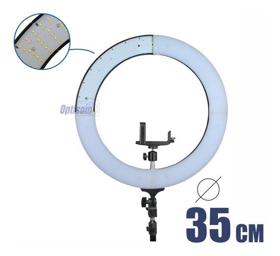 Ring Light Led Reclinável Com Fonte Profissional