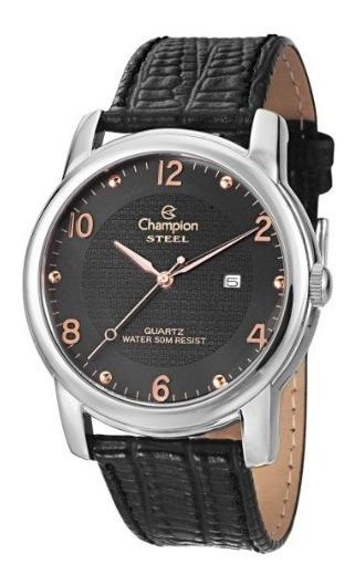 Relógio Champion Couro Cor Preta Ca21160t Novo Original