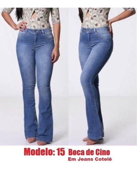 Calça Jeans Cintura Alta Feminina Skinny C/ Lycra