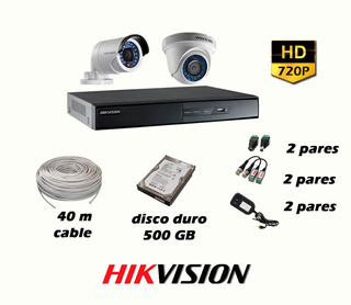 Kit De 2 Cámaras Hikvision Con Cable - Disco Duro 500gb P2p