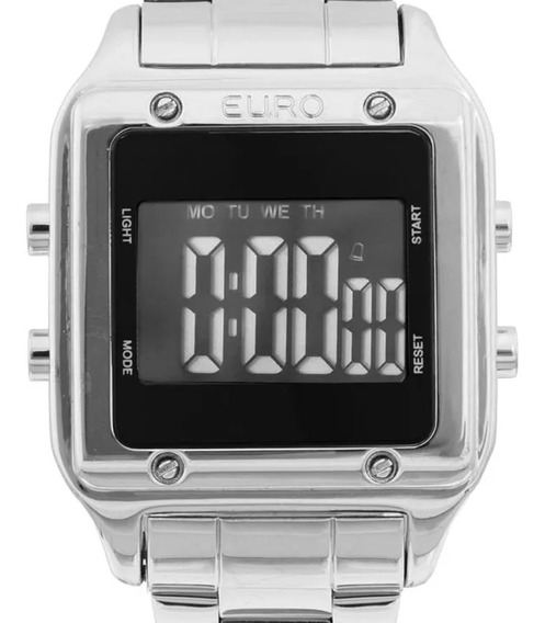 Relógio Euro Feminino Eug2510ab/3p Quadrado Prateado - Nfe