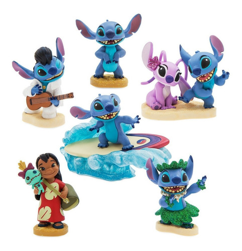 Imagen 1 de 3 de Set Figuras X 6  Lilo & Stitch  (10 Cm) A2829