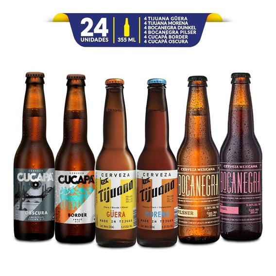 Mix Pack Cervezas Artesanales Mexicanas 24 Botellas De 355ml