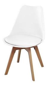 Cadeira Saarinen Assento Estofado Base Madeira - Branca