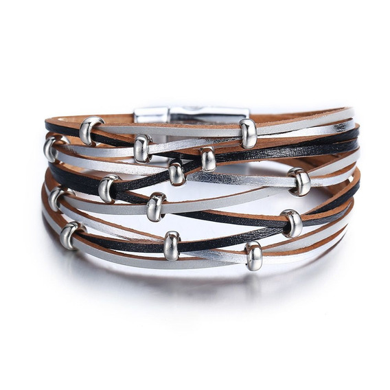 Bracelete Em Couro Preta Cinza Prata