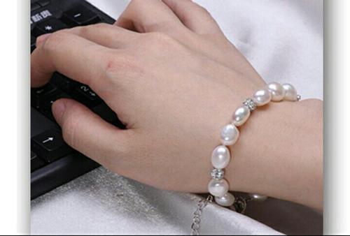 Novia Collar Perlas Agua Dulce Pulsera Y Pendientes Mujer