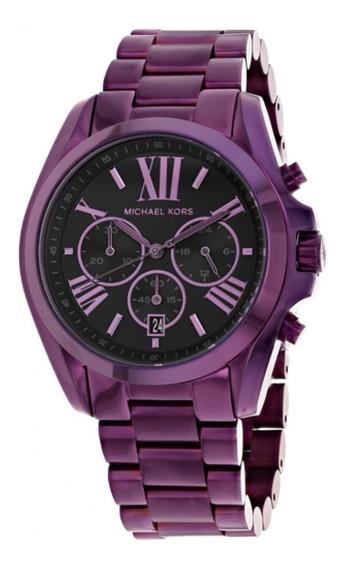 Relógio Michael Kors Mk6398 Bradshaw Roxo Original Eua