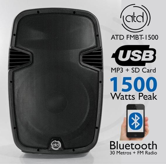 Corneta Amplificada Atd Pro 15pulgadas Con Bluetooth Usb Fm
