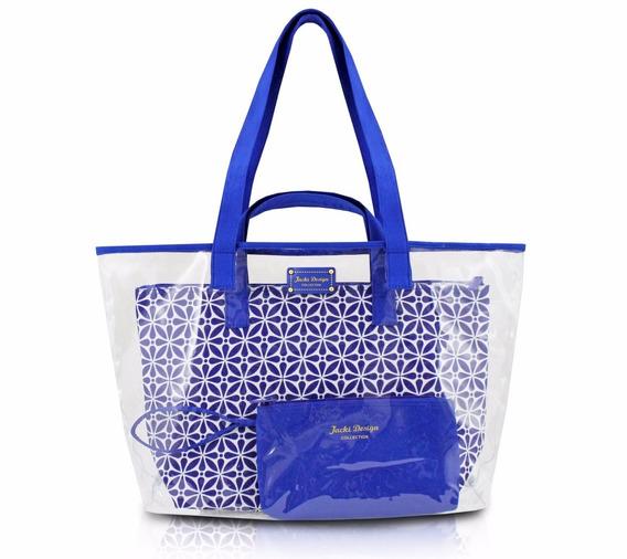 Kit De Bolsa 3 Pecas Praia Ou Passeio - Etnica Azul