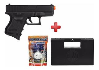 Pistola Airsoft Spring Glock Baby P360 + Case Maleta + Bbs