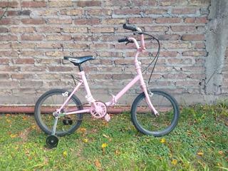 Bicicleta Niños Rodado 14 Color Rosa / Nena Con Rueditas