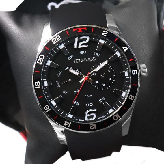 Relógio Technos Masculino Preto Vermelho 6p25bn/8p Original