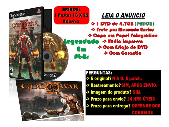 God Of War 2 Legendado Pt-br Para Ps2 + Brinde Poster