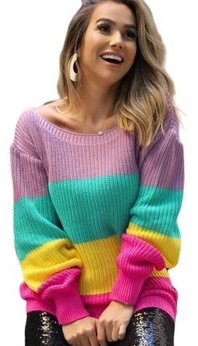 Suéter Lã Feminino Colorido Longo Outono/inverno