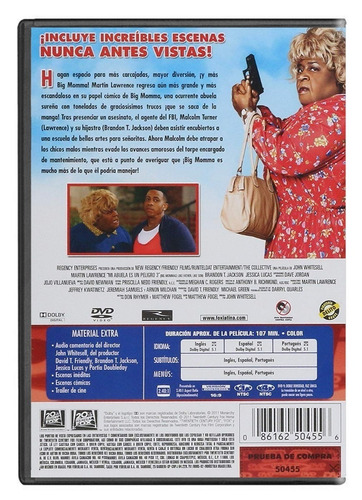 Mi Abuela Es Un Peligro 3 Tres Big Mommas House Pelicula Dvd Mercado Libre