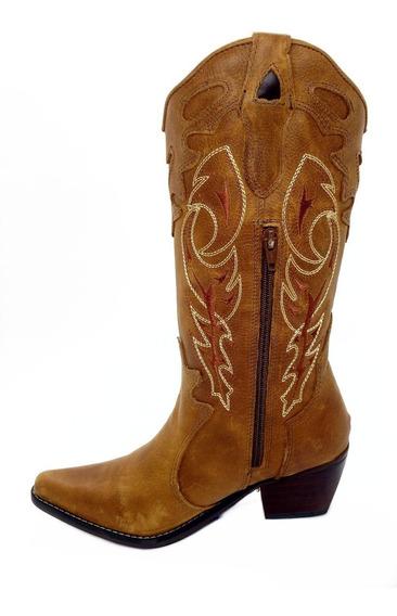 Bota Country Texana Feminina Montaria Couro Bico Fino Couro