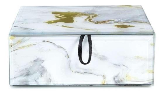 Caja Decorativa Cristal Diseño Mármol