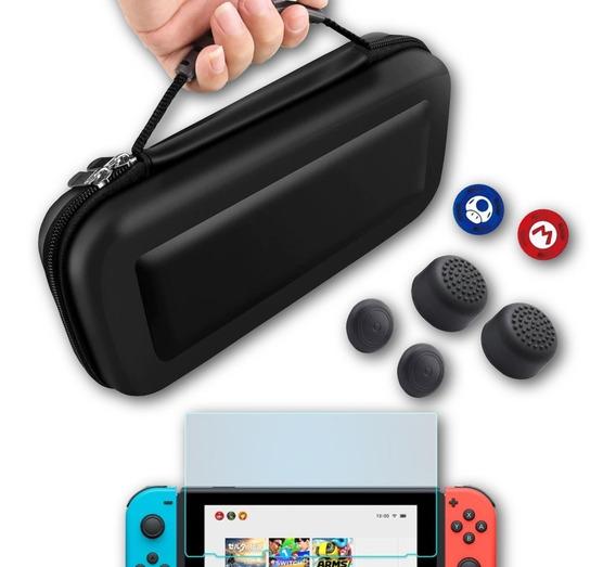 3em1 Case + Película Vidro + 6 Thumbs - Nintendo Switch