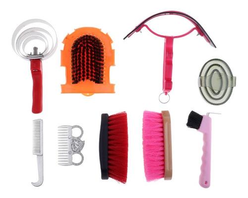 Imagen 1 de 6 de Kit De Mantenamiento De Caballo Cuidado Cepillo De Masaje