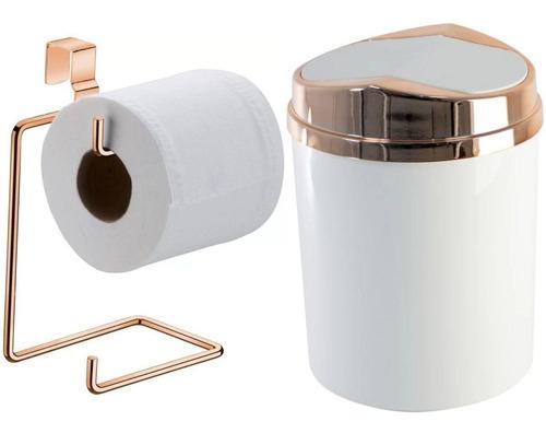 Porta Papel Higiênico Duplo Lixeira Basculante Rosé Gold