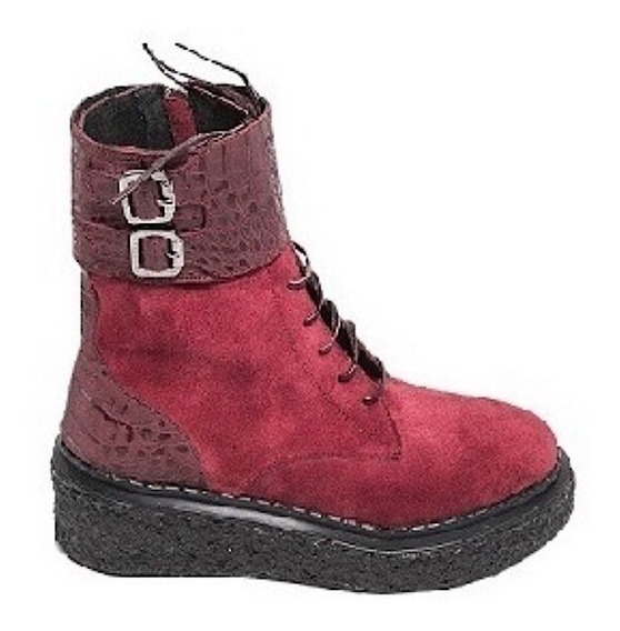 Zapato Mujer Borcego Natacha Bordó Suela De Goma #1441