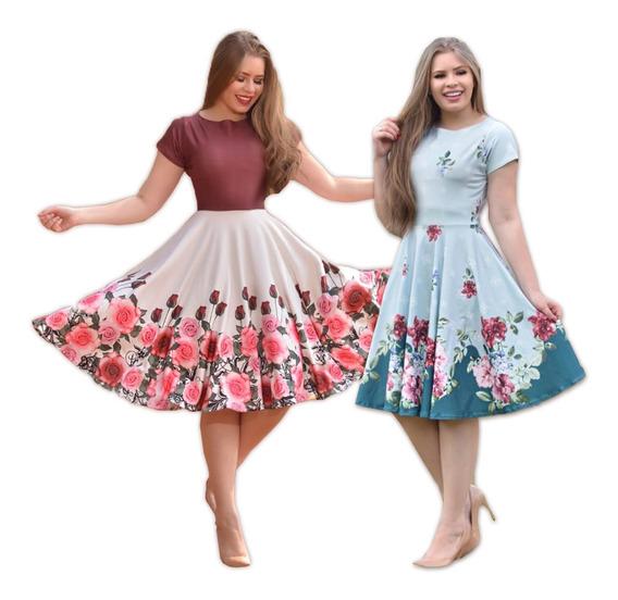 2 Vestidos Evangélicos Neoprene Florido Gode