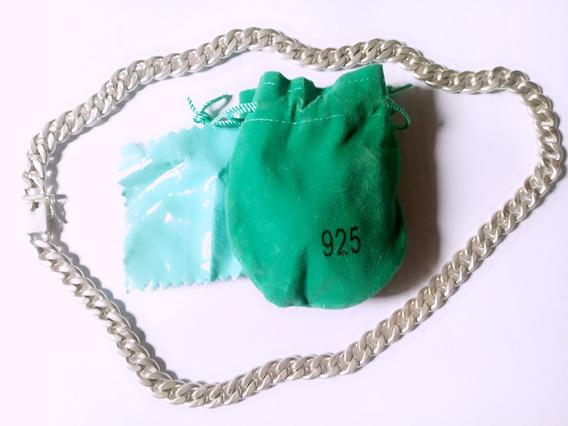 Corrente Colar Masculina Banho Prata 925 60cm 10mm 115gramas