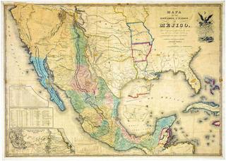 Lienzo Tela Mapa Tratado Guadalupe Hidalgo 1847 80x112