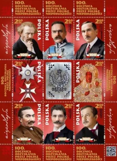 Polonia-mini Folha Com 8 Selos Comemorativos. Novo, Mint.