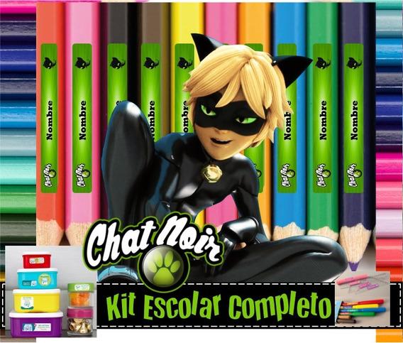 Kit Etiquetas Escolar Cat Noir Ladybug Calendario 2020