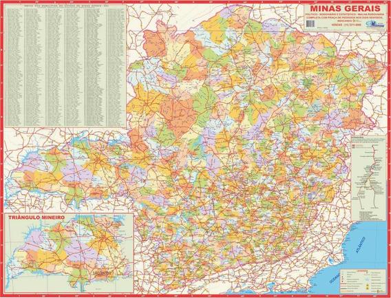 Mapa Estado Minas Gerais -político- 117 X 89 Cm-frete Grátis