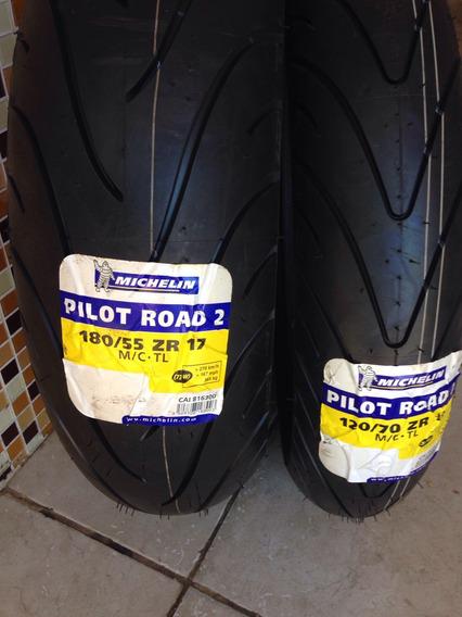 Combo Pilot Road 2 120/70-17 E 180/55-17 Frete Gratis Novos