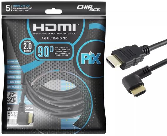 Cabo Hdmi L 5m 90 Graus Blindado 2.0 Ethernet 5 Metros 4k 3d