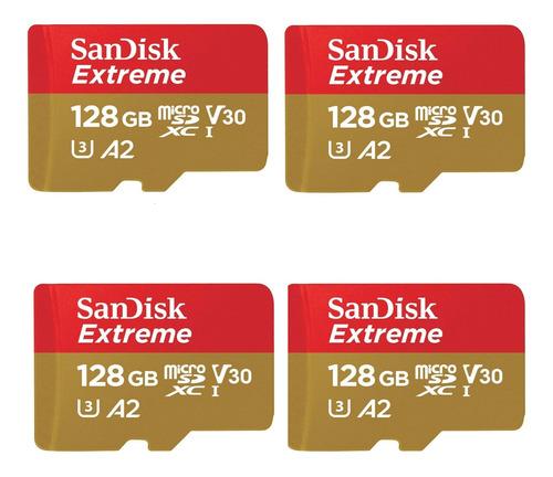 Kit 4 Cartão De Memória Sandisk Extreme Sdsqxa2- J4n0 128gb