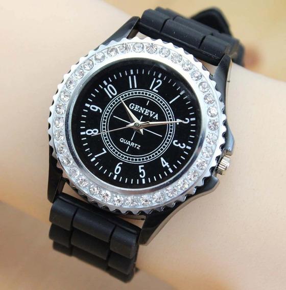 Relógio Luxo Moda Feminino Strass Geneva Quartz Silicone