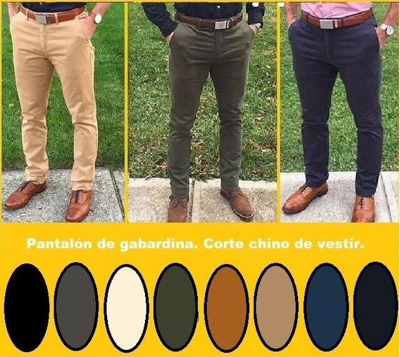 Pantalon De Gabardina. Corte Chino Para Hombre. De Vestir.