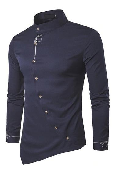 Camisa ,hombre Cuello Mao Diseño Bordado 2