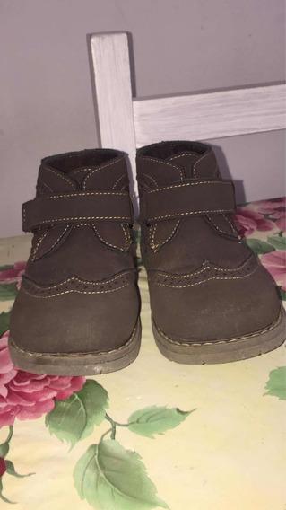 Zapatos De Niño Talle 27 Color Marrón Con Abrojo. Impecables