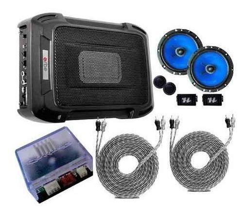 Caixa Slim + Kit 2 Vias 6 + Módulo Cabos + Amplificador Rca